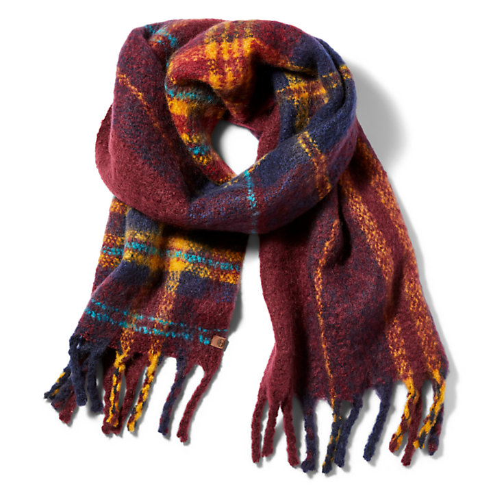 Check Blanket Scarf for Women in Burgundy-