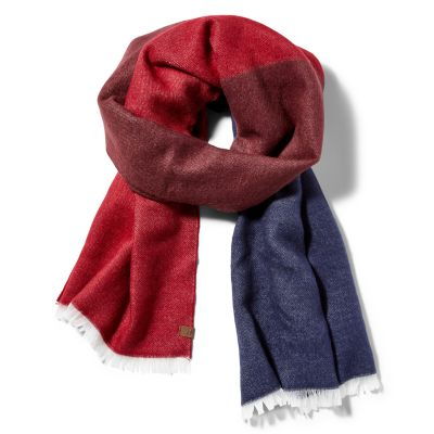 Colour-block+Woven+Scarf+for+Women+in+Red