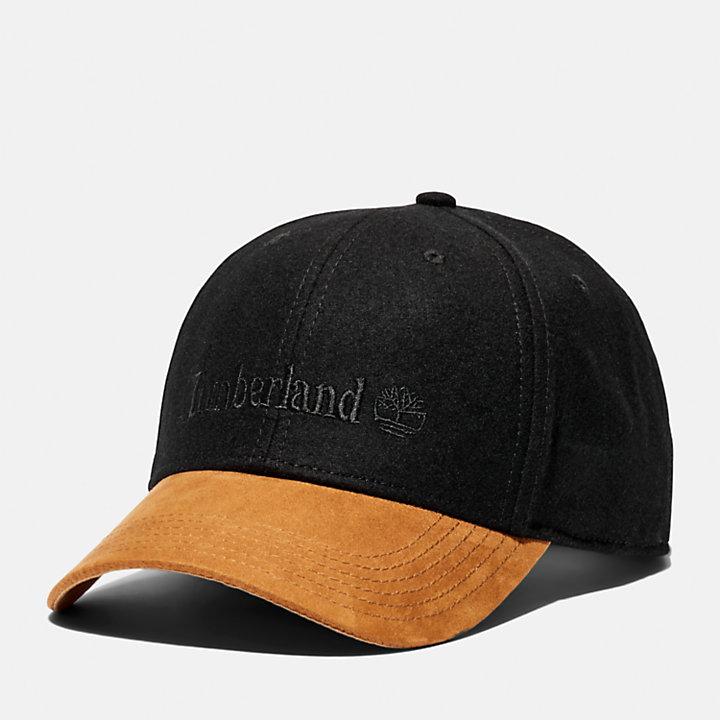 Wool-Blend Baseball Cap for Men in Black-