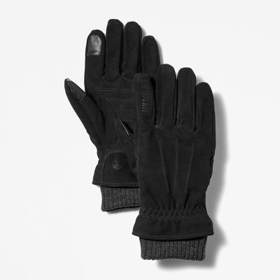 Sweater-Cuff+Leather+Gloves+for+Men+in+Black