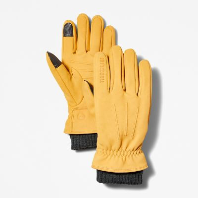 Sweater-Cuff+Leather+Gloves+for+Men+in+Yellow