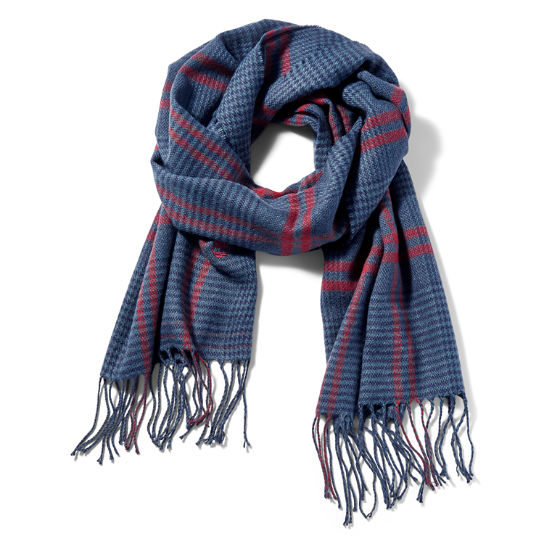 Glen Plaid Blanket Scarf for Men in Blue | Timberland
