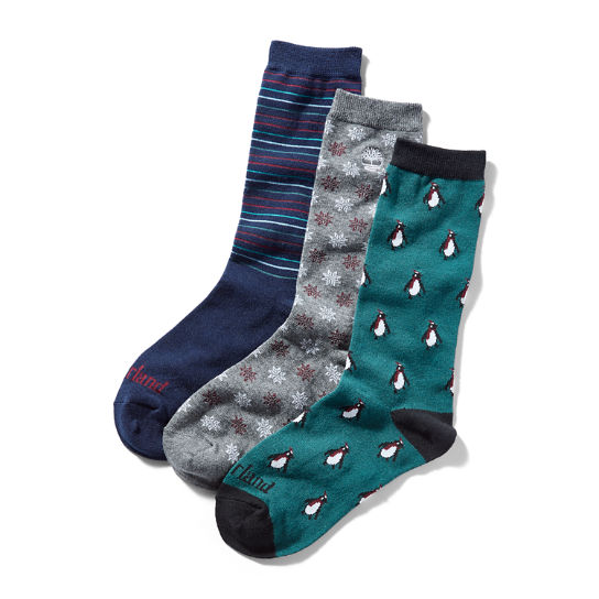 Three Pair Socks Gift Set for Men in Teal/Blue | Timberland