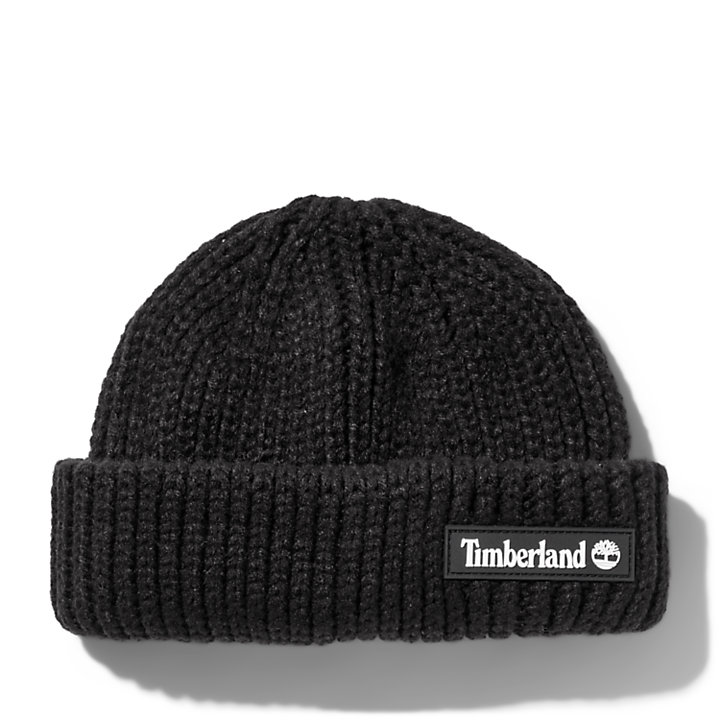 Rubber-patch Fisherman Beanie for Men in Black-