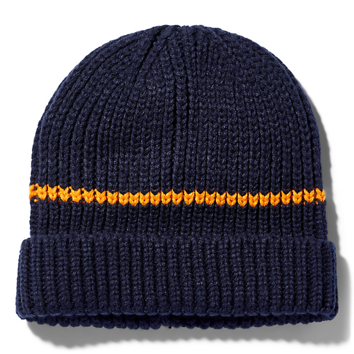 Rubber-patch Fisherman Beanie for Men in Navy-