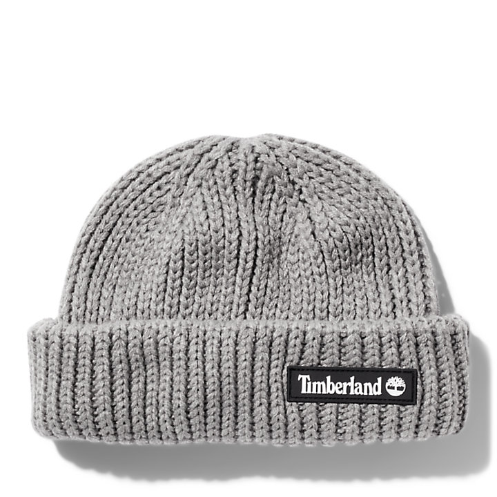 Rubber-patch Fisherman Beanie for Men in Grey-