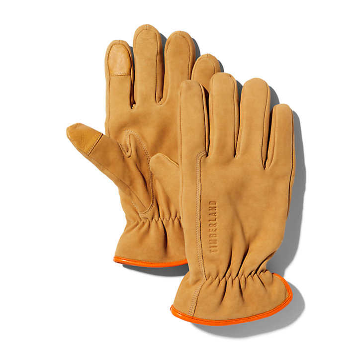 Utility Leather Gloves for Men in Yellow-