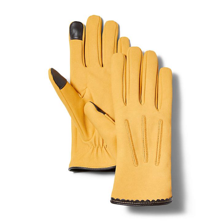 Klassische Damenlederhandschuhe in Gelb-