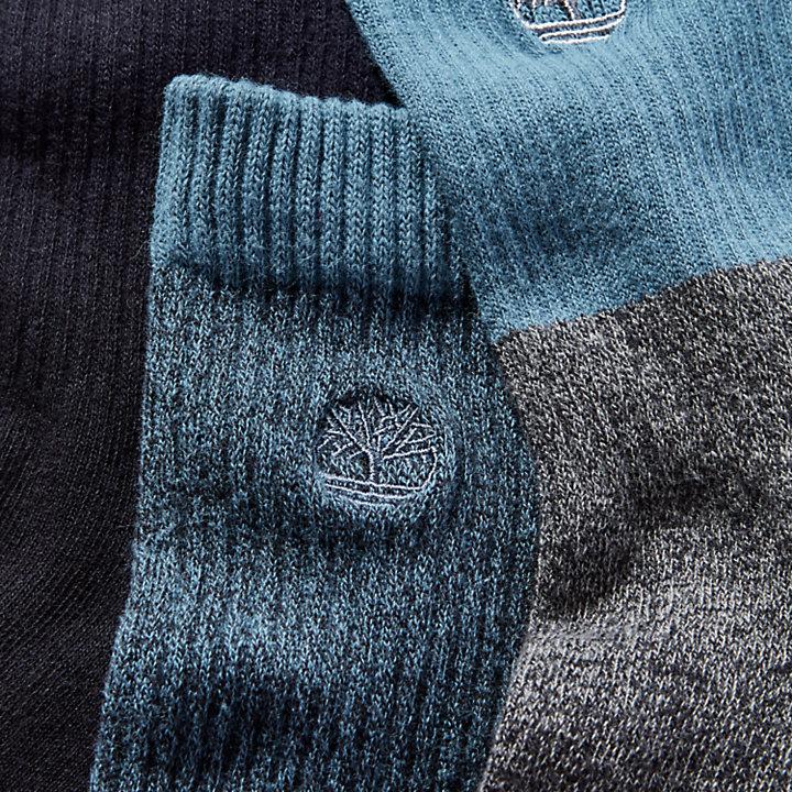 Set con tres pares de calcetines en color negro/azul-