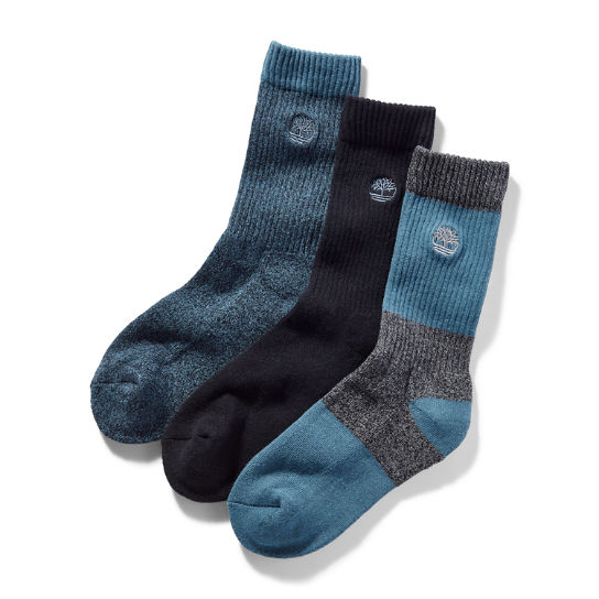 Three Pair Boot Sock Gift Pack for Men in Black/Blue | Timberland