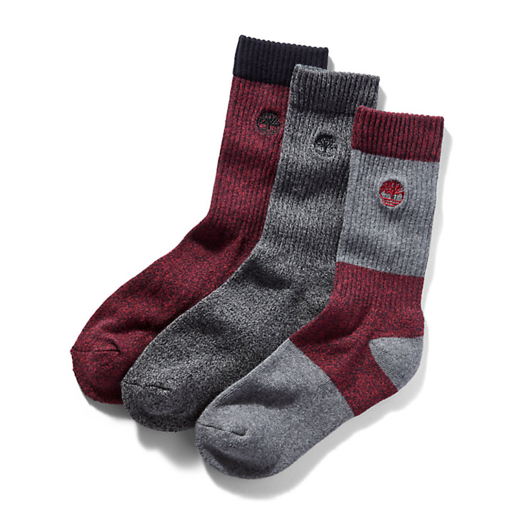 Three Pair Boot Sock Gift Pack for Men in Red/Grey-