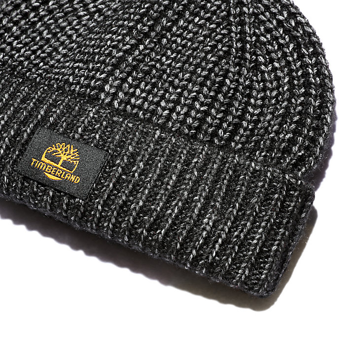 Shaker-Stitch Beanie for Men in Black-