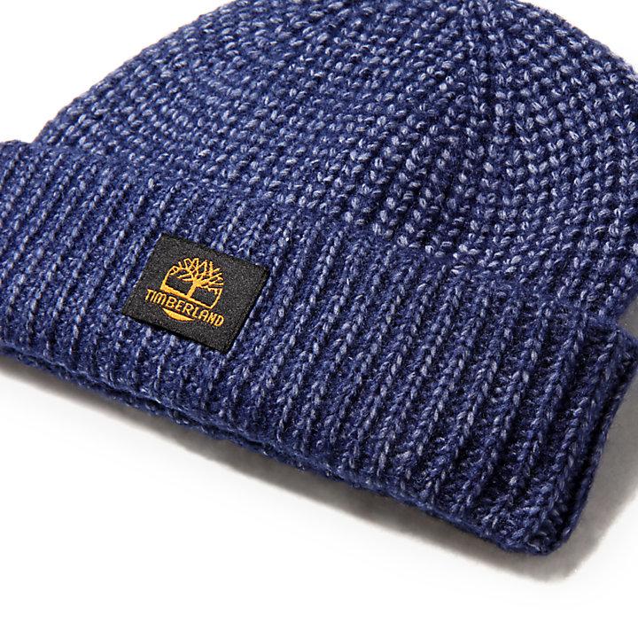 Shaker-Stitch Beanie voor Heren in marineblauw-