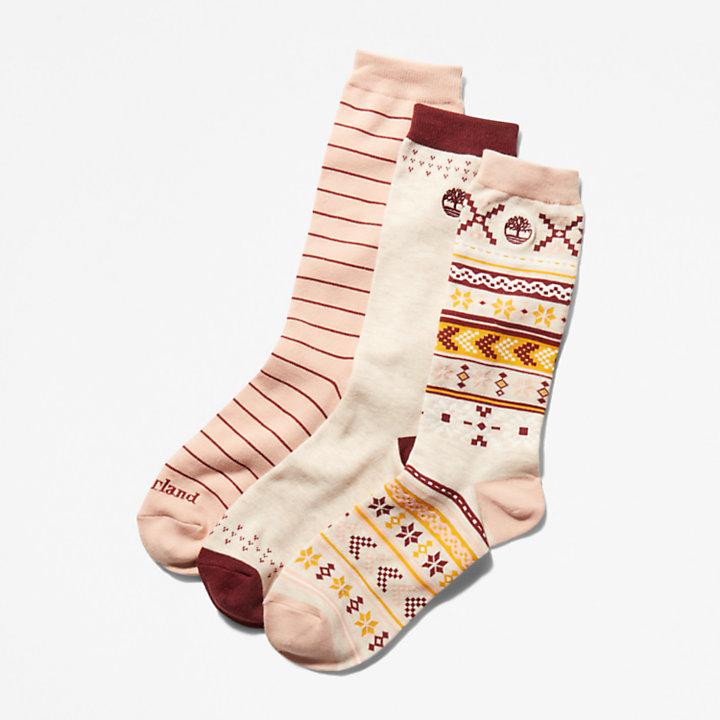Winter Geschenkbox mit 3er-Pack Crew-Socken für Damen in Beige-