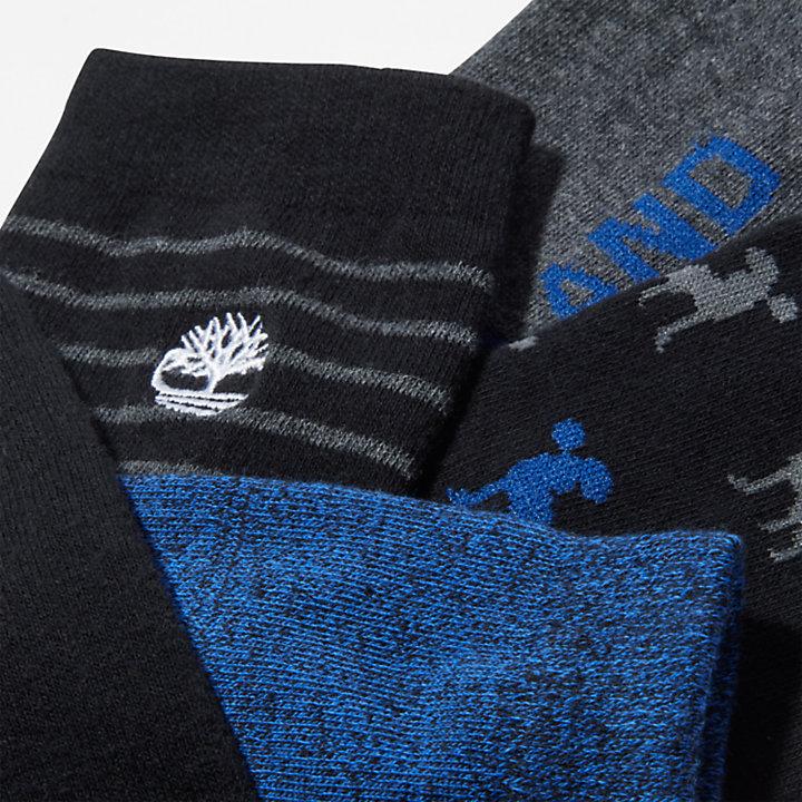 6er-Pack Crew-Socken in Geschenkbox für Herren in Schwarz-