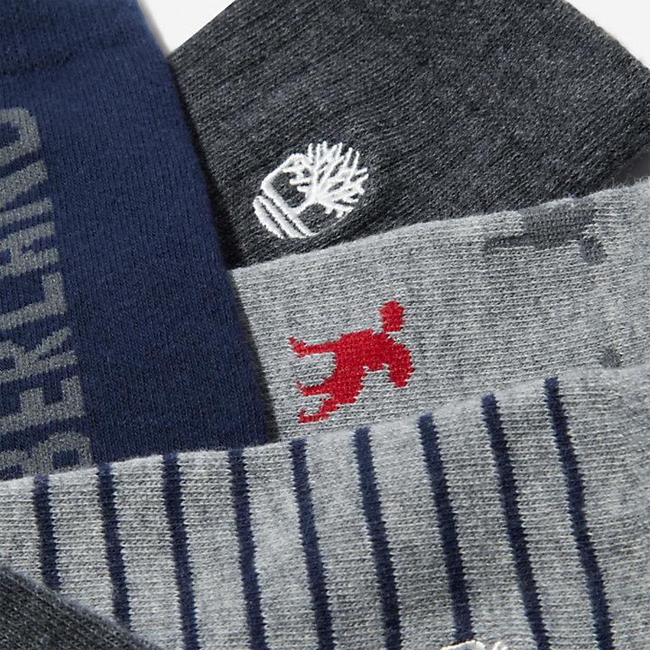 Geschenkdoos met zes paar korte sokken voor heren in grijs-