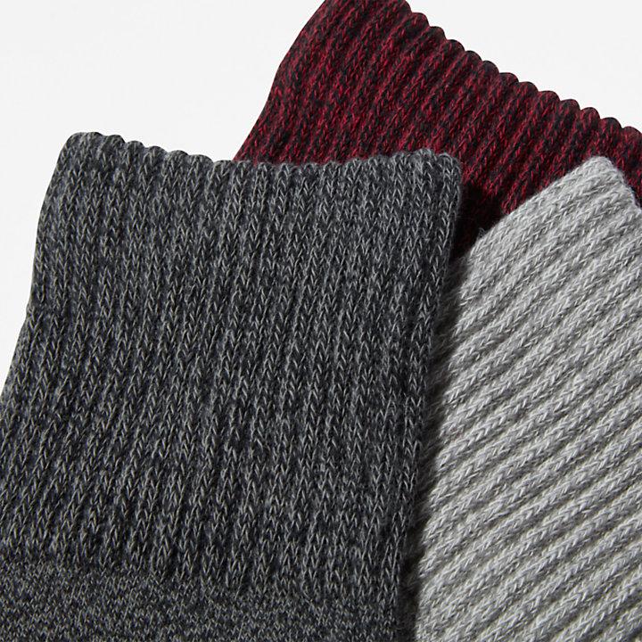 Three Pack Marled Crew Socks Gift Box for Women in Black-