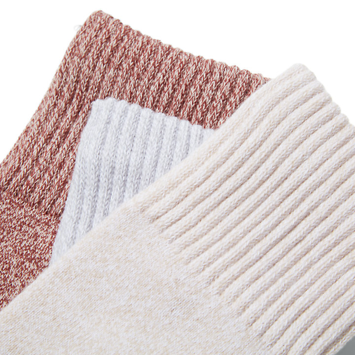 Three Pack Marled Crew Socks Gift Box for Women in Pink-