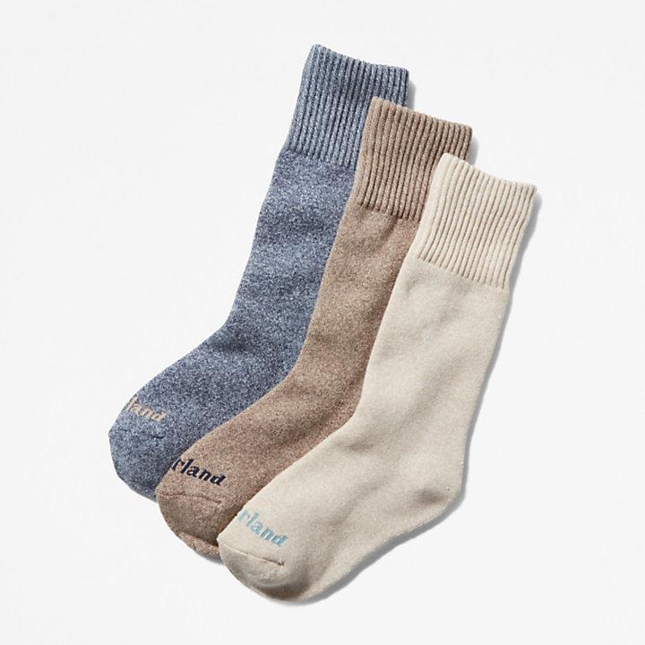 Geschenkset mit melierten Crew-Socken im 3er-Pack für Damen in Beige-