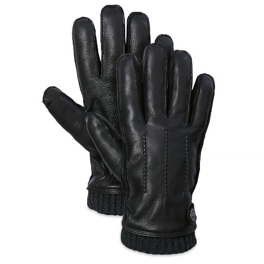 Leather Glove with Ribbed Cuff negro hombre | Timberland