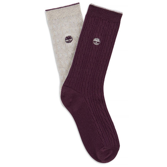 Lightweight Cable Socks Femme mauves | Timberland