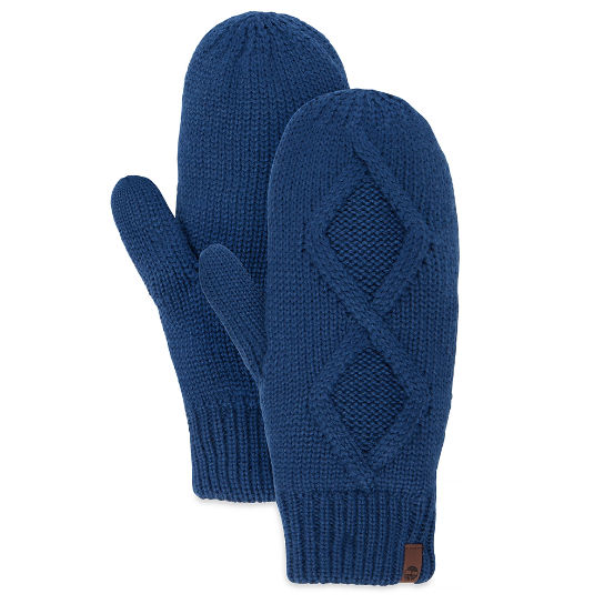 Women's Cable Knit Mittens Blue | Timberland