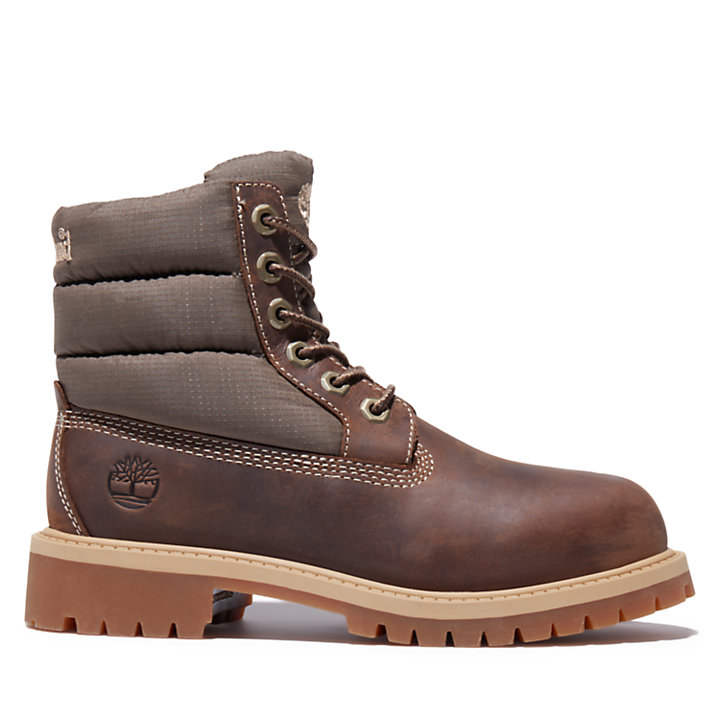 Premium 6 Inch Quilt Boot for Youth in Brown-