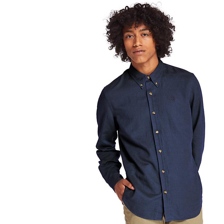 Camicia da Uomo in Lino Lovell River in blu marino-