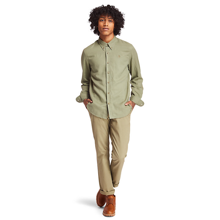 Lovell River Linen Shirt for Men in Green-