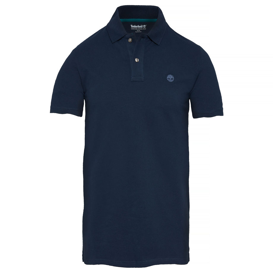 Timberland Men's Merrymeeting River Polo Shirt Navy Dark Sapphire, Size S