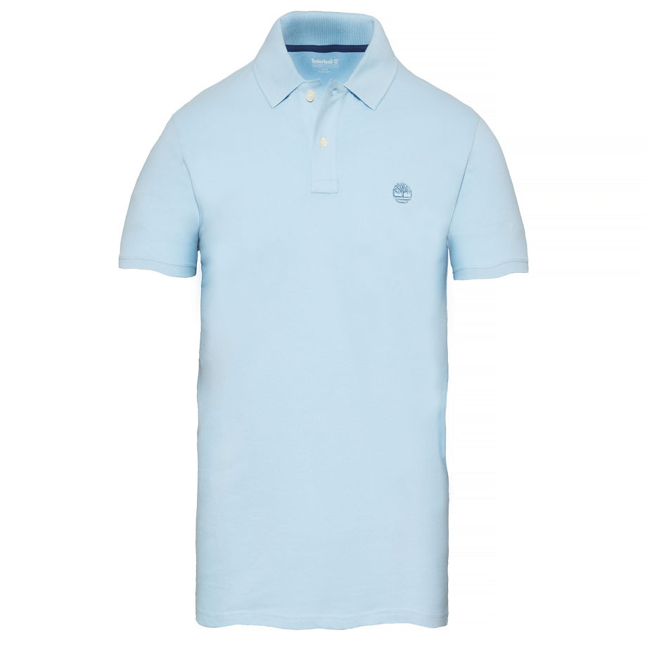 Timberland Men's Merrymeeting River Polo Shirt Pale Blue Blue, Size M