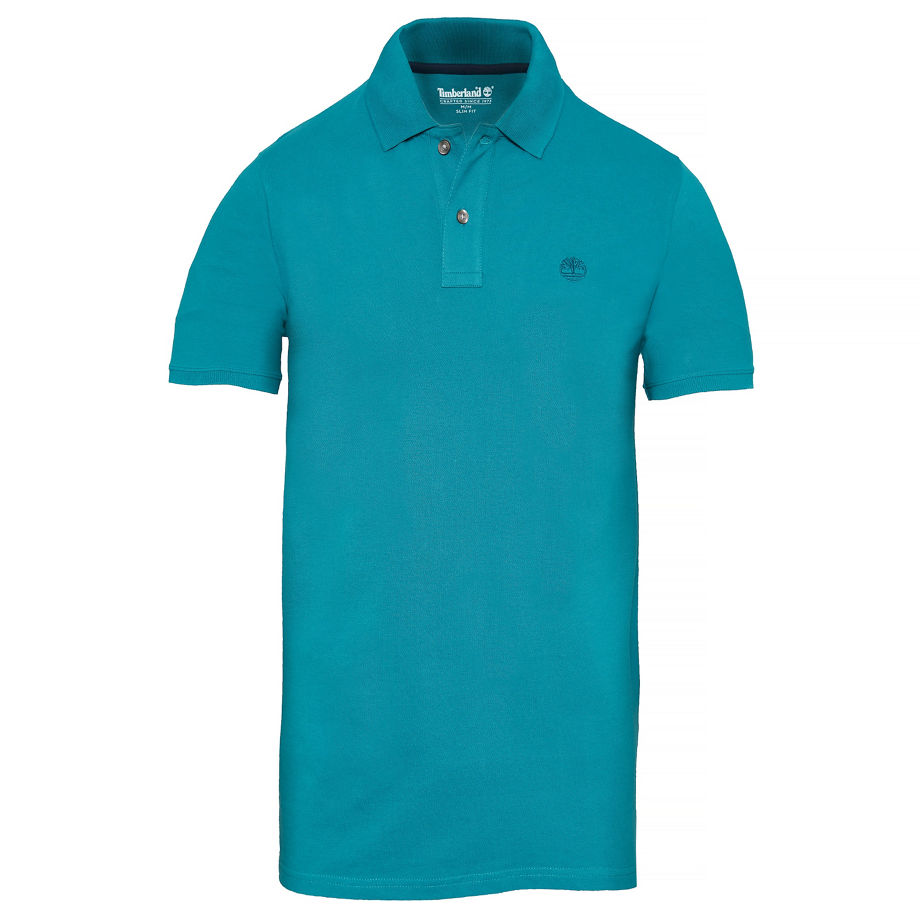 Timberland Men's Merrymeeting River Polo Shirt Teal Teal, Size S