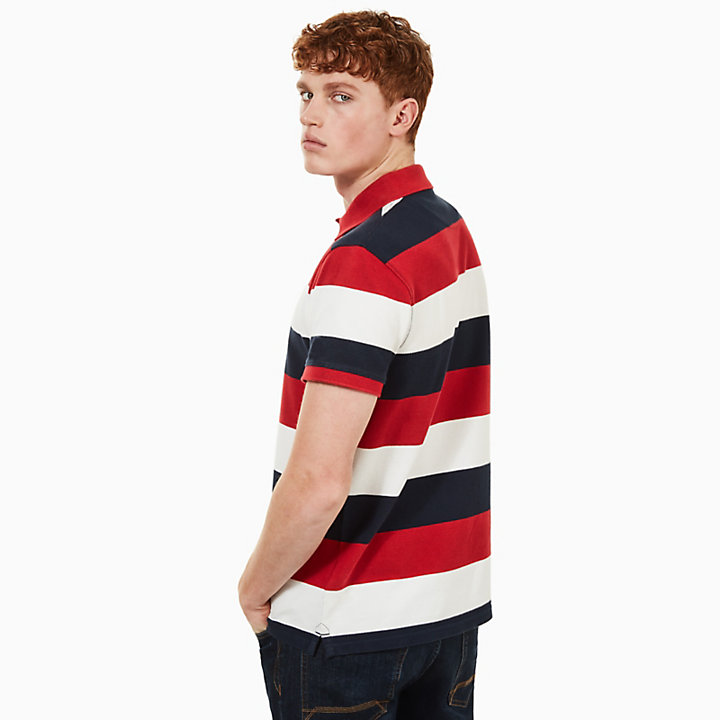 Polo Millers River homme rayé en rouge/blanc-