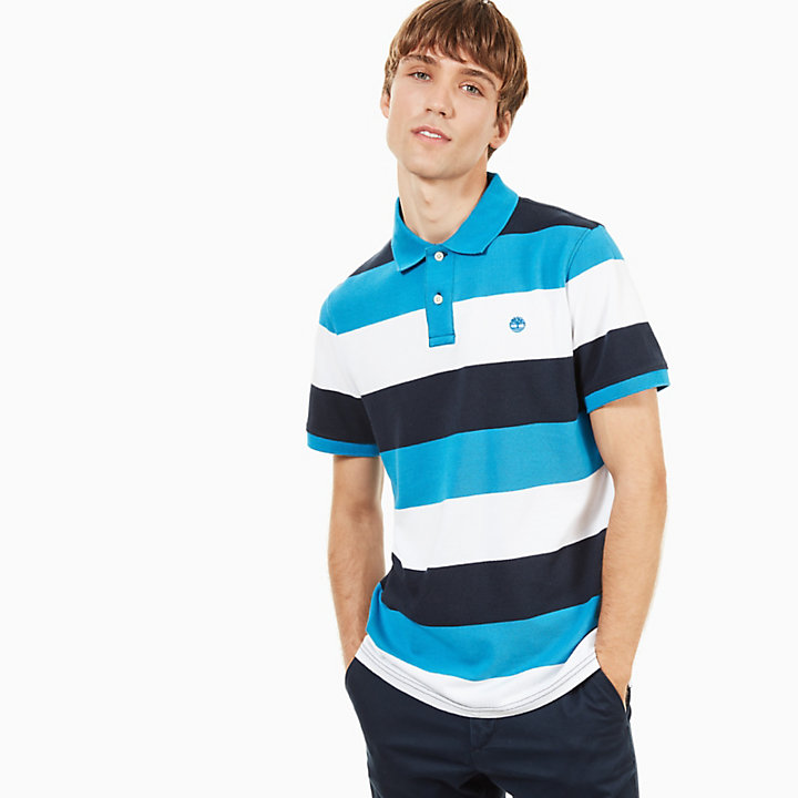 Millers River Stripe Polo Shirt for Men in Blue/White-