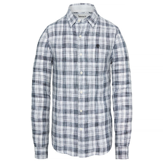 Men's Mill River Checked Linen Shirt White | Timberland