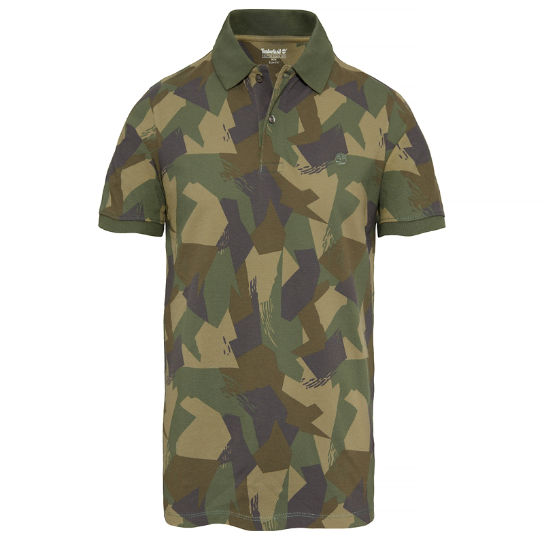 Men's Millers River Print Polo Shirt Camo | Timberland