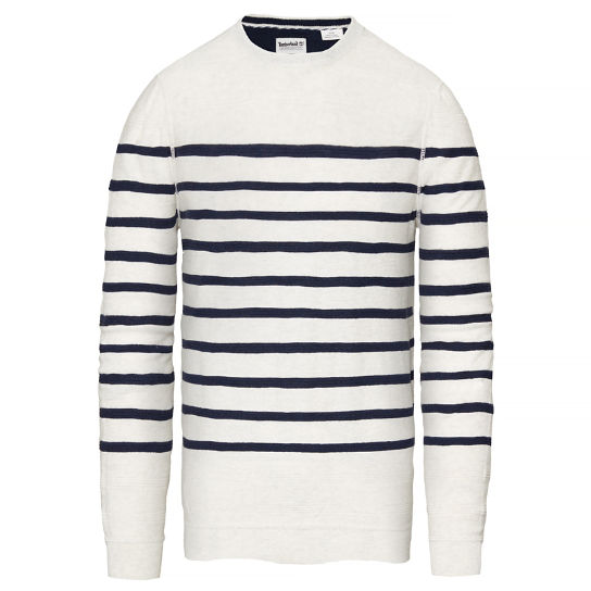 Mill River Striped Sweater Hombre Blanco | Timberland