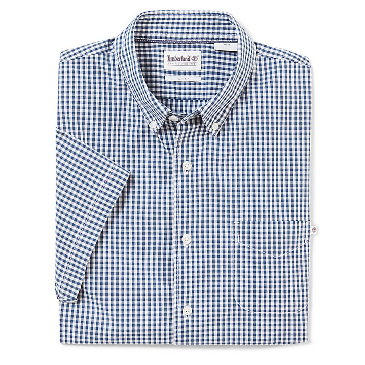 SS Suncook River Small Gingham Overhemd Slim Indigo-