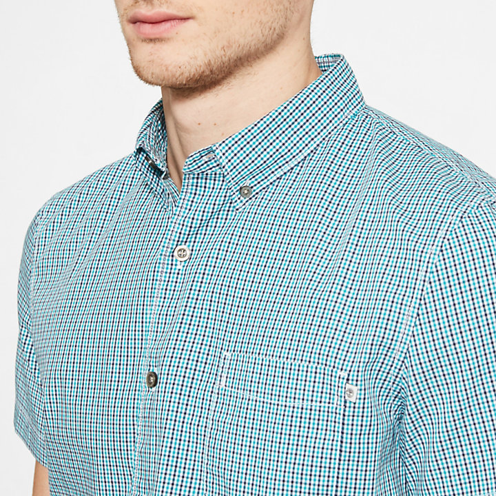 Men's Suncook River Gingham Shirt Turquoise-