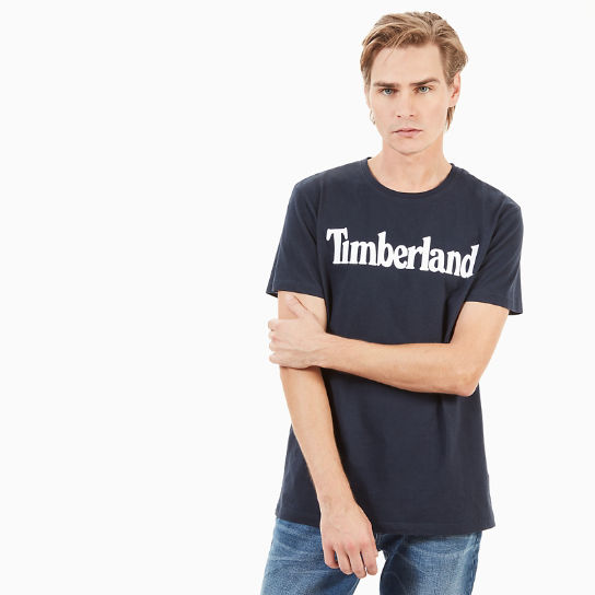 Kennebec River Linear Logo T-Shirt for Men in Navy | Timberland