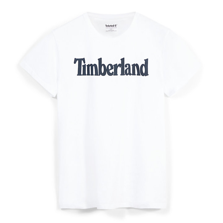 Kennebec River Linear Logo T-Shirt for Men in White-