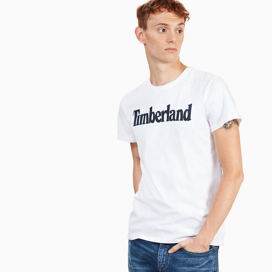 Timberland Kennebec River Linear Logo T-shirt For Men In White White, Size L