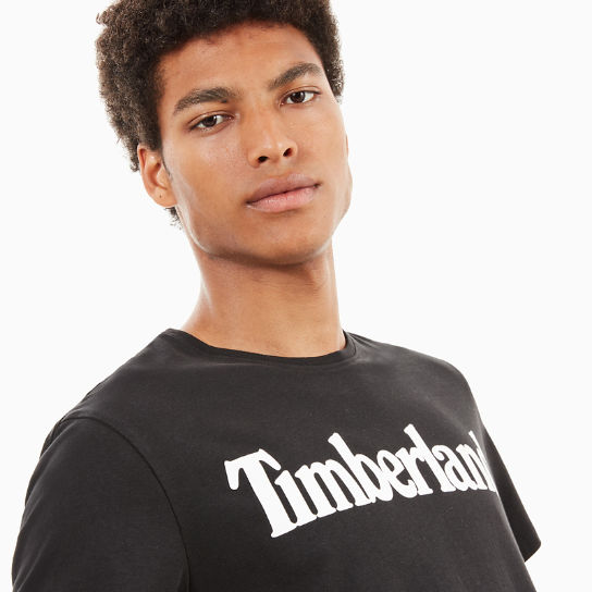 Kennebec River Linear Logo T-Shirt for Men in Black | Timberland
