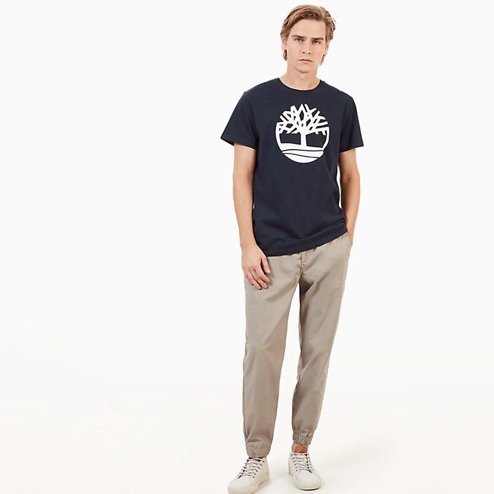 Kennebec River Tree Logo T-Shirt for Men in Navy-