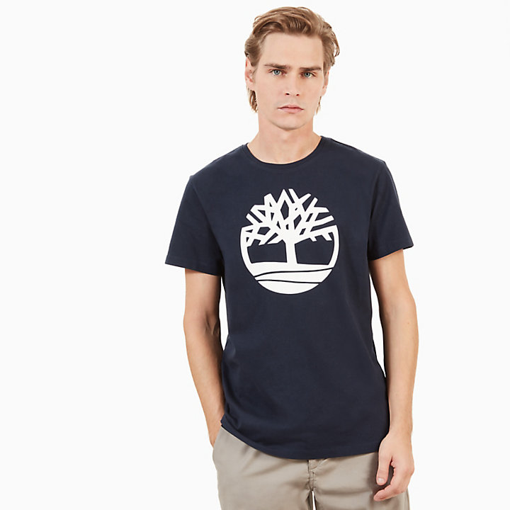 Kennebec River Tree Logo T-Shirt für Herren in Navyblau-