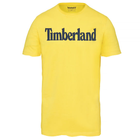 Kennebec River Linear Logo T-Shirt Hombre Amarillo | Timberland