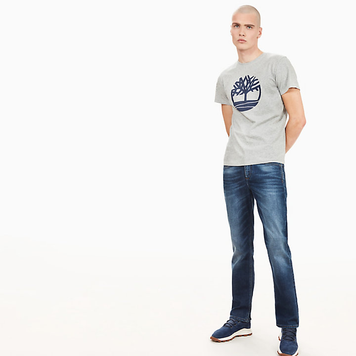 Kennebec River Tree Logo T-shirt voor Heren in Grijs-