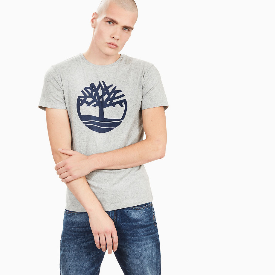Timberland Kennebec River Tree Logo T-shirt For Men In Grey Grey, Size S