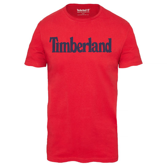 Kennebec River Linear Logo T-Shirt Uomo Rosso | Timberland