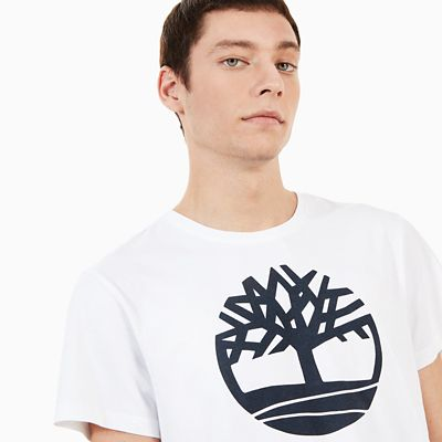 Kennebec+River+Tree+Logo+T-Shirt+for+Men+in+White